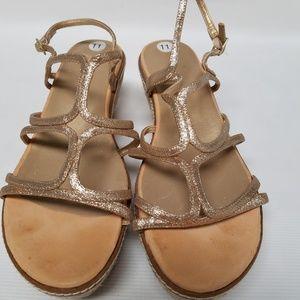 STUART WEITZMAN Gold Glitter Sandals 11